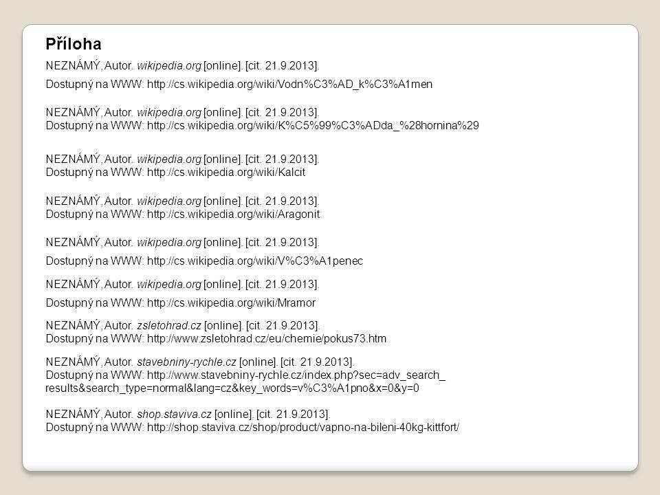 Příloha NEZNÁMÝ, Autor. wikipedia.org [online]. [cit. 21.9.2013].